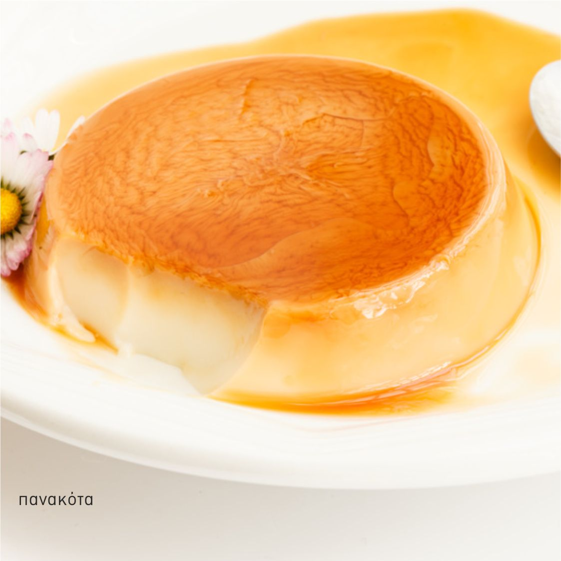 panacotta with caramel syrup